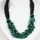 Bold Necklace Multi Strands Peacock Stone Chips Necklace