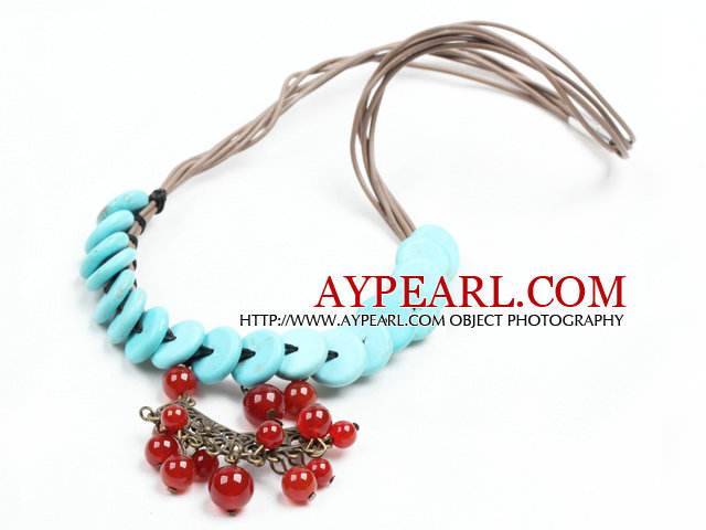 Chic Style Flat Round Turquoise Chandelier Shape Red Agate Beads Pendant Necklace With Brown Leather