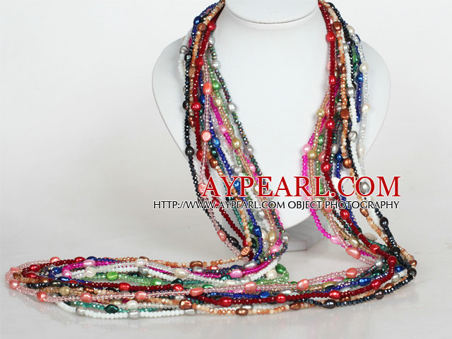 12 Pieces Crystal and Baroque Pearl Long Style Necklace