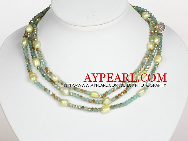 Light Green Color Baroque Pearl Crystal Long Style Necklace