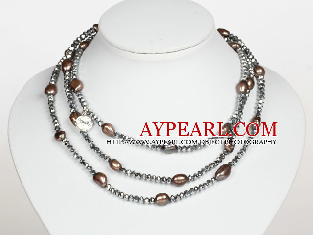 Silver Gray Color Baroque Pearl Crystal Long Style Necklace