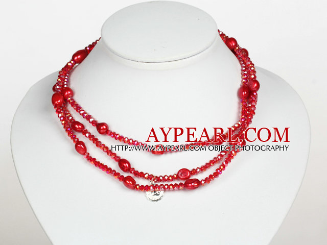 Light Red Color Baroque Pearl Crystal Long Style Necklace