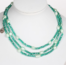 Collier vert Couleur baroque Crystal Pearl style long
