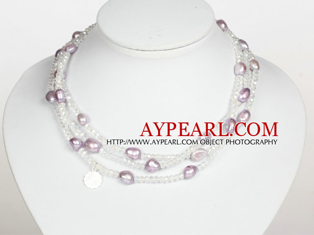 Clear Crystal and Violet Baroque Pearl Long Style Necklace