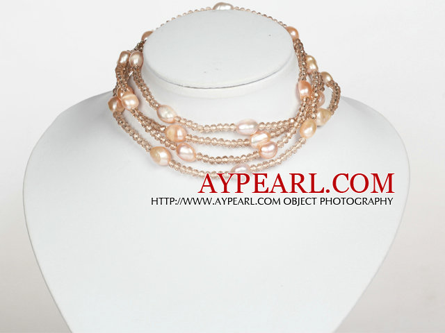 Baby Pink Color Baroque Pearl Crystal Long Style Necklace