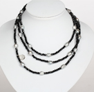 Black Color Baroque Pearl Crystal Long Style Necklace