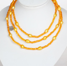 Collier Orange Jaune Couleur baroque Crystal Pearl style long