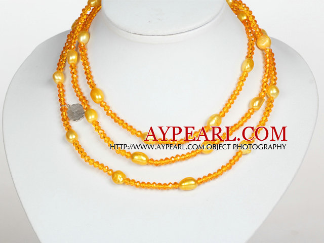 Orange Yellow Color Baroque Pearl Crystal Long Style Necklace
