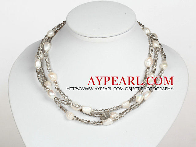 White Baroque Pearl and Gray Crystal Long Style Necklace