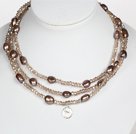 Collier Light Brown Couleur perle baroque Cristal style long