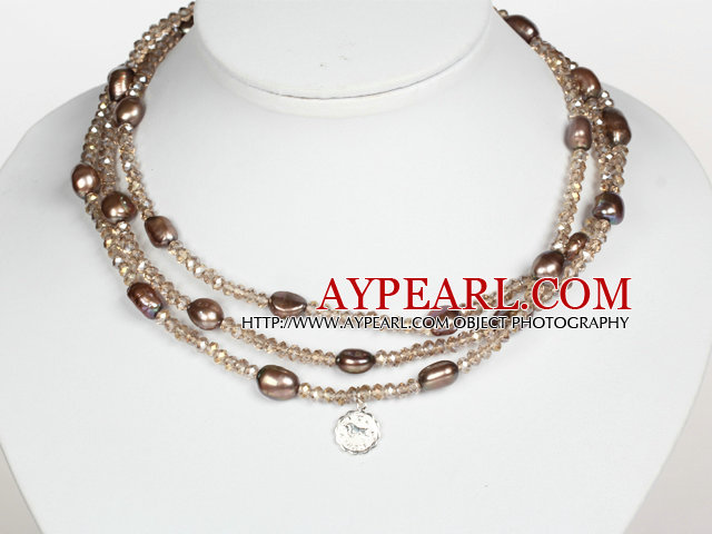 Light Brown Color Baroque Pearl Crystal Long Style Necklace