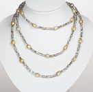 Gray Color Baroque Pearl Crystal Long Style Necklace