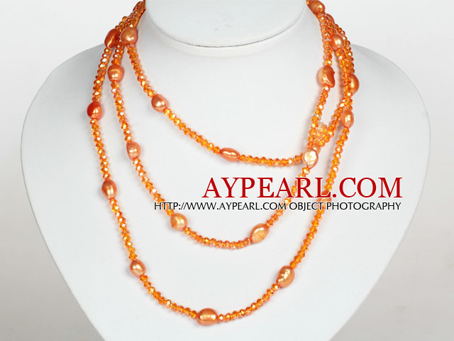 Orange Color Baroque Pearl Crystal Long Style Necklace