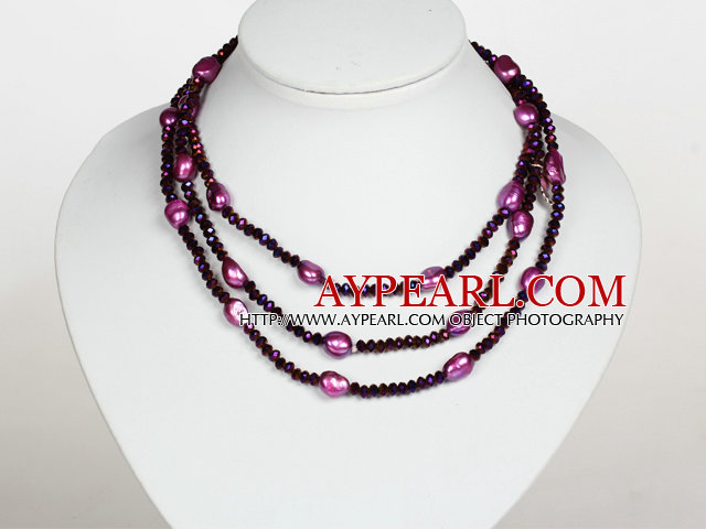 Dark Purple Color Baroque Pearl Crystal Long Style Necklace