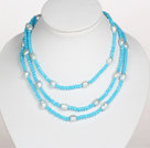 Collier style long Crystal Sky Couleur Bleu perle baroque