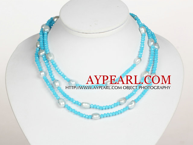 Sky Blue Color Baroque Pearl Crystal Long Style Necklace