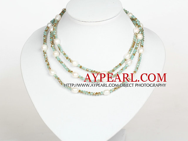 White Baroque Pearl and Light Blue Crystal Long Style Necklace
