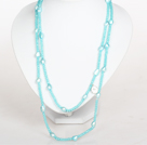 Light Blue Baroque Pearl Crystal Long Style Necklace