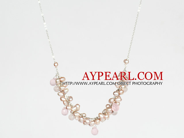 Pink Series Pink Freshwater Pearl and Rose Quartz Crystal Necklace with Metal Chain