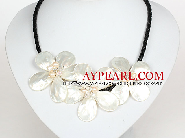 White Pearl Crystal and Shell Flower Necklace with Magnetic Clasp