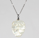 White Sea Shell Leaf Pendant Necklace with Metal Chain