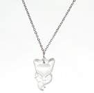 Clear Crystal Fox Pendant Necklace With Metal Chain