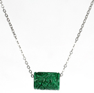 Cylinder Shape Green Gemstone Pendant Necklace with Metal Chain