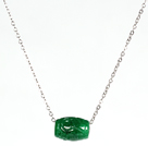 Drum Shape Green Gemstone Pendant Necklace with Metal Chain