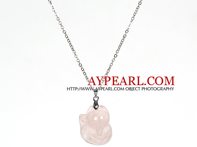 Rose Quartz Fox Pendant Necklace with Metal Chain