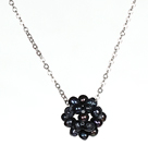 Natural Black Freshwater Pearl Ball Pendant Necklace with Metal Chain
