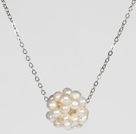 Natural White Freshwater Pearl Ball Pendant Necklace with Metal Chain