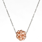 Natural Pink Freshwater Pearl Ball Pendant Necklace with Metal Chain