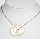 Mother of Pearl Shell Nodut Pendant Necklace with Metal Chain