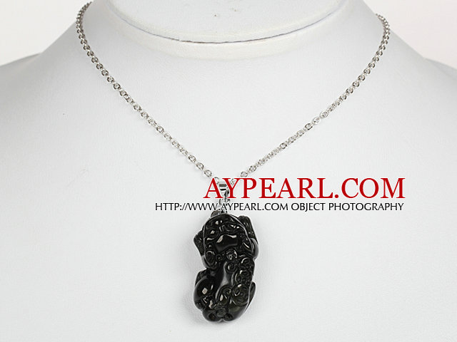Obsidian Pixiu Pendant Necklace with Metal Chain