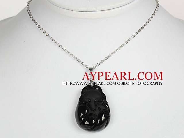 Obsidian Fox Pendant Necklace with Metal Chain