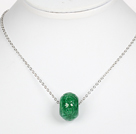 Wholesale Green Gemstone Pendant Necklace with Metal Chain