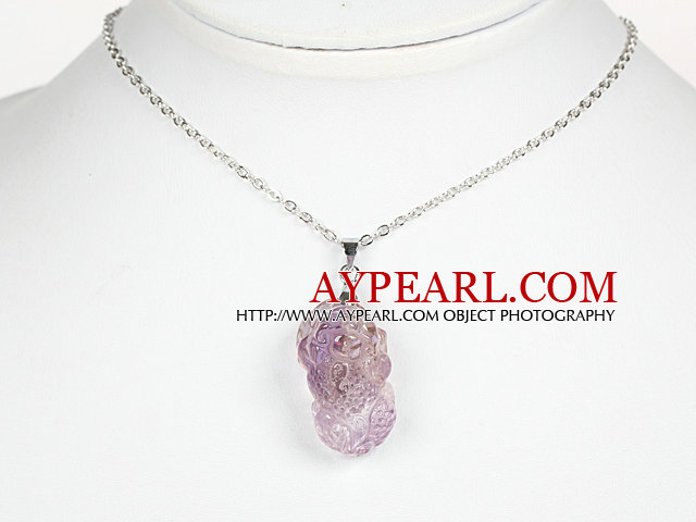 Natural Yellow Amethyst Pixiu Pendant Necklace with Metal Chain