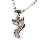 White Gold Plated Fox Pendant Necklace with Metal Chain