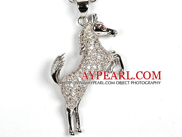 White Gold Plated Horse Pendant Necklace with Metal Chain
