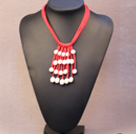 Popular Hot Sale Natural White Freshwater Pearl Red Leather Tassel Necklace