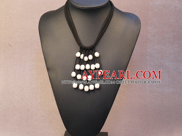 Fashion Multi Color Natural Freshwater Pearl Crystal Cluster Barrel Shape Agate Chunky Necklace
