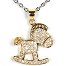 White Gold Plated Hobbyhorse Pendant Necklace with Metal Chain