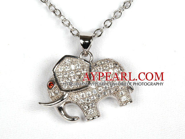 White Gold Plated Elephant Pendant Necklace with Metal Chain