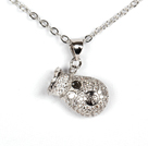 White Gold Plated Cute Purse Pendant Necklace with Metal Chain