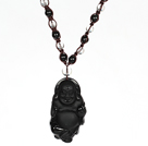 Obsidian Beads and Clear Crystal Necklace with Laugh Baddha Pendant
