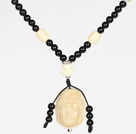 Wholesale Obsidian Beads and White Agate Necklace with Corozo Nut Laugh Baddha Pendant