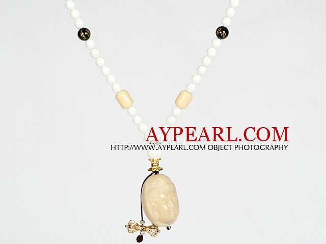 White Porcelain Stone and Black Agate Necklace with Corozo Nut Laugh Baddha Pendant