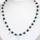Wholesale Black Pearl and Opal Crystal Necklace with Lobster Clasp