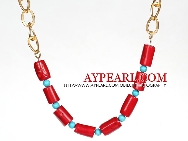 Cylinder Shape Red Coral and Turquoise Necklace with Metal Chain