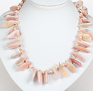 Wholesale Irregular Shape Pink Opal Stone Necklace